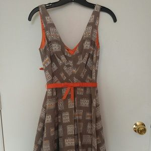 Belted house pattern dress
